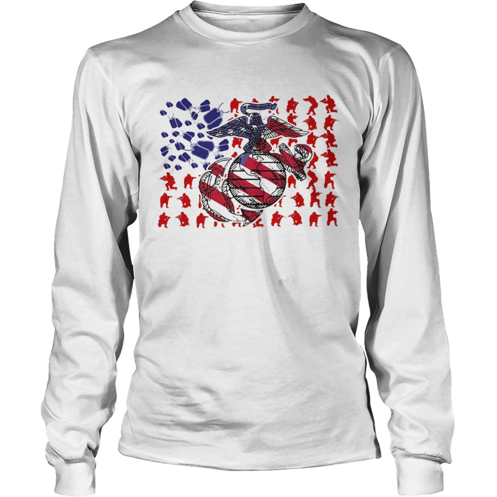 United States Marine Corps American Flag Veteran Independence Day  Long Sleeve