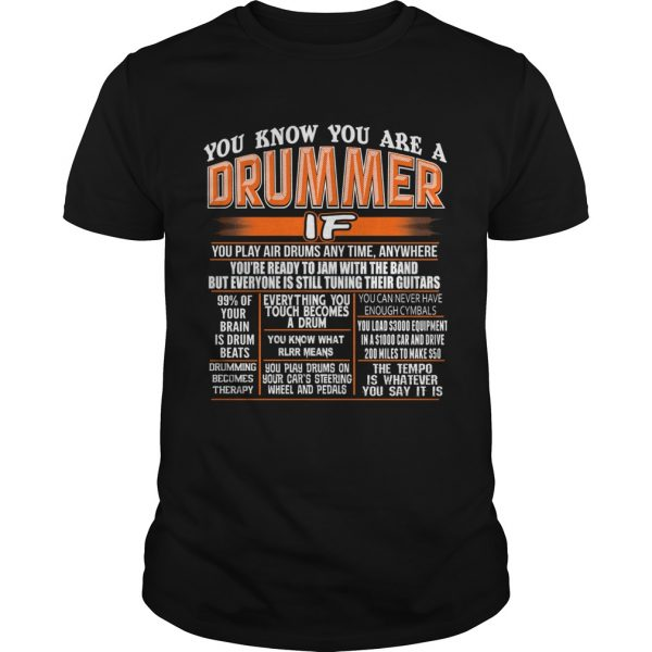 You know you are a drummer if you play air drums any time anywhere  Unisex