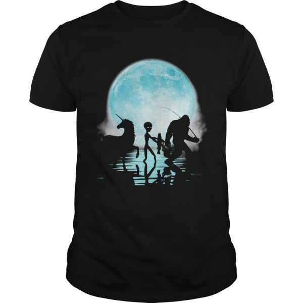 Bigfoot Goes Fishing With Alien And Unicorn shirt