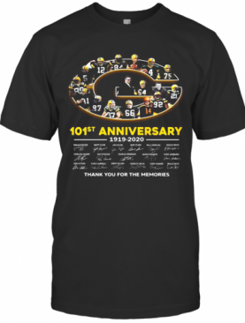 Green Bay Packer 101St Anniversary 1919 2020 Thank You For The Memories Signatures T-Shirt