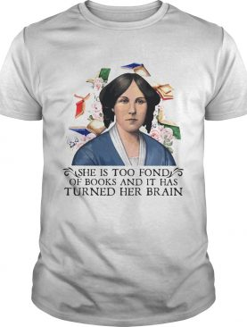 She is too fond of books and it has turned her brain flowers shirt