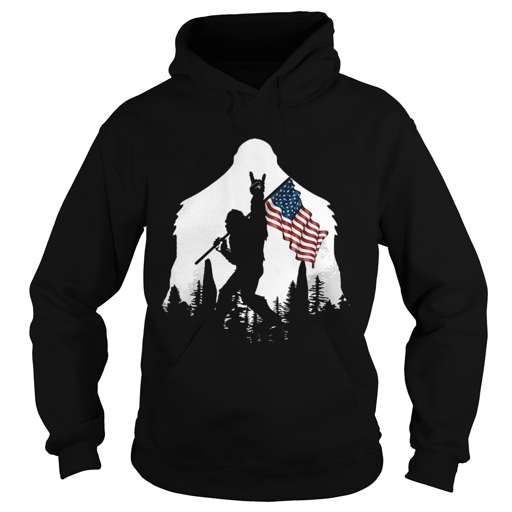 Bigfoot Rock And Roll Usa Flag In The Forest  Hoodie