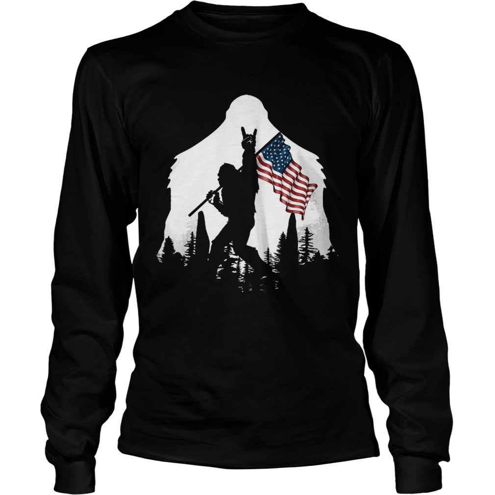 Bigfoot Rock And Roll Usa Flag In The Forest  Long Sleeve