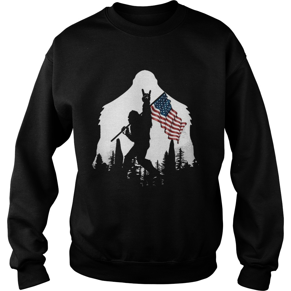 Bigfoot Rock And Roll Usa Flag In The Forest  Sweatshirt