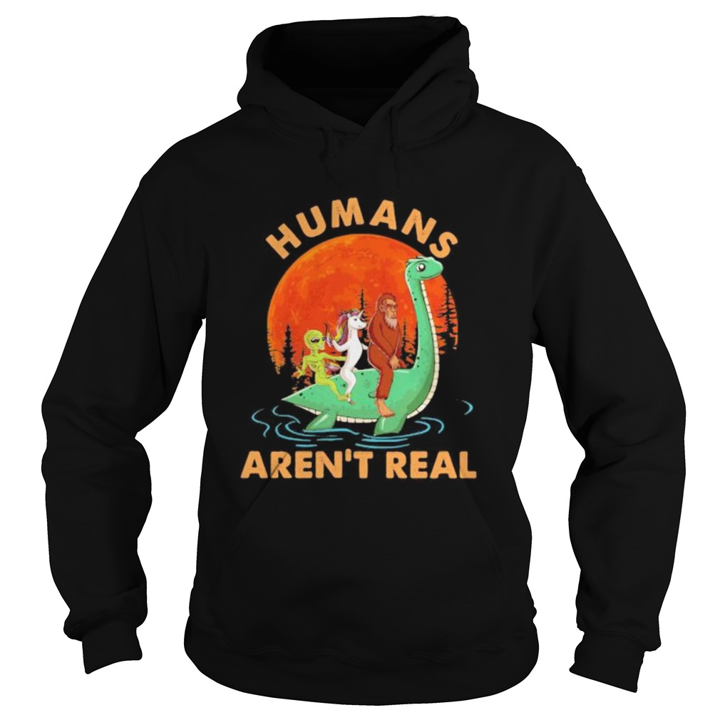 Halloween humans arent real alice unicorn and bigfoot riding dinosaur  Hoodie