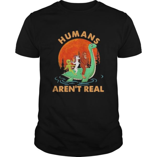 Halloween humans arent real alice unicorn and bigfoot riding dinosaur shirt