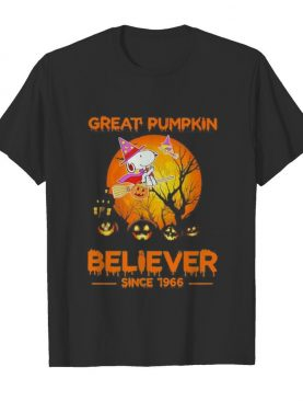 Halloween snoopy and woodstock witch great pumpkin believer since 1966 moon shirt