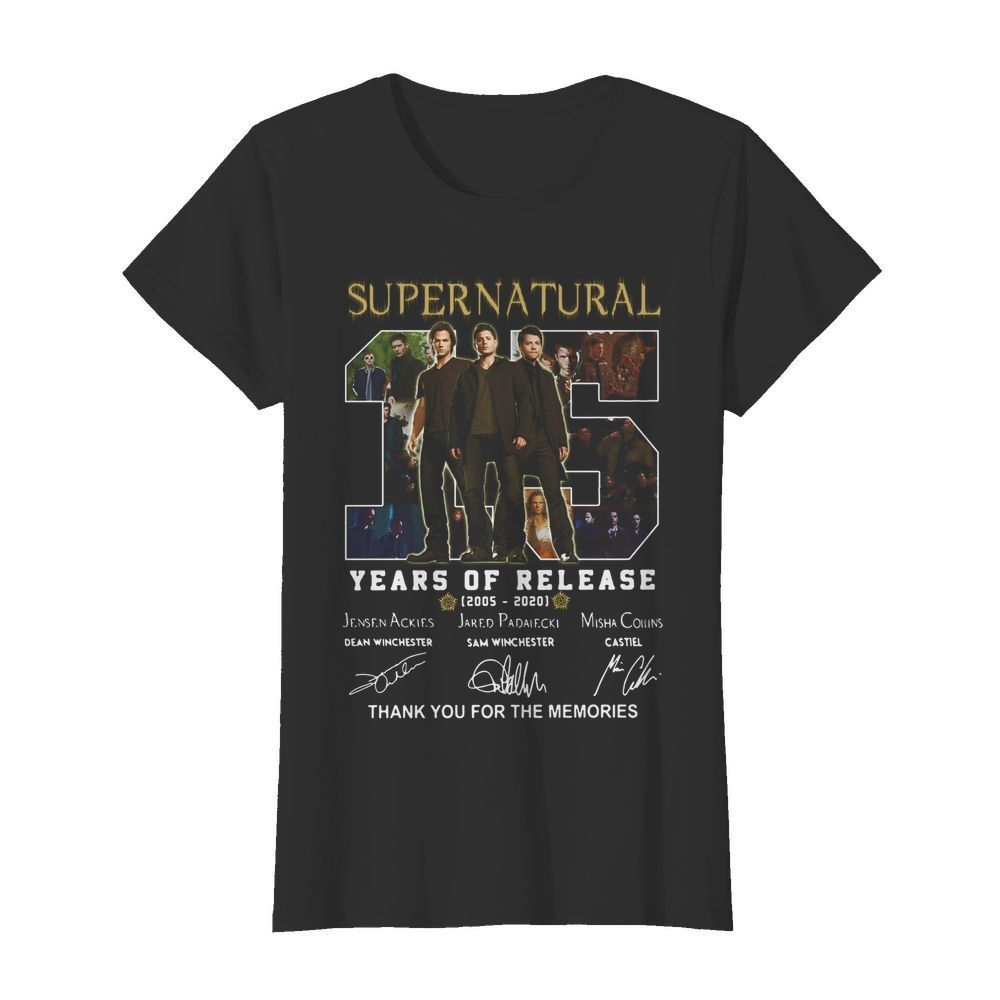 Supernatural 15 years of release 2005-2021 signatures thank you for the memories  Classic Women's T-shirt