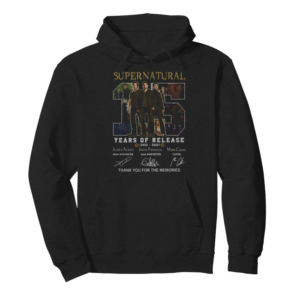 Supernatural 15 years of release 2005-2021 signatures thank you for the memories  Unisex Hoodie