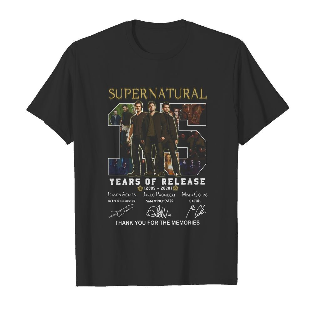 Supernatural 15 years of release 2005-2021 signatures thank you for the memories  Classic Men's T-shirt