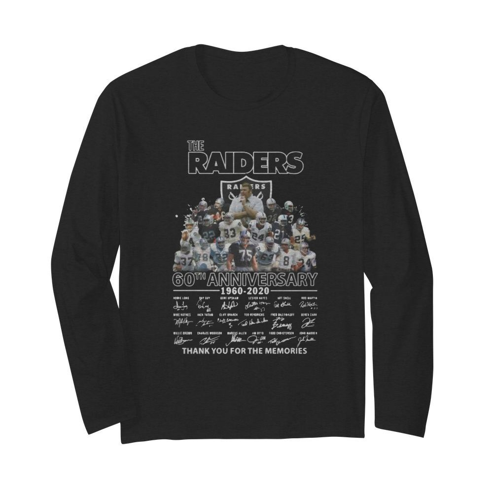 The raiders 60th anniversary 1960 2020 thank you for the memories signatures  Long Sleeved T-shirt
