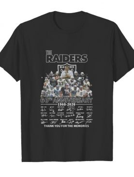 The raiders 60th anniversary 1960 2020 thank you for the memories signatures shirt