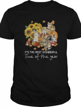 Cats it's the most wonderful time of the year sunflowers leaves tree shirt