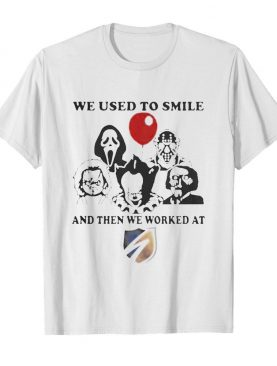 Halloween horror characters we used to smile and then we worked at swift shirt