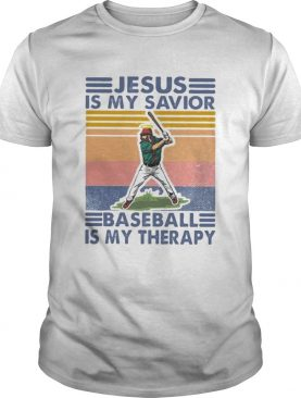 Jesus is my savior baseball is my therapy vintage retro shirt