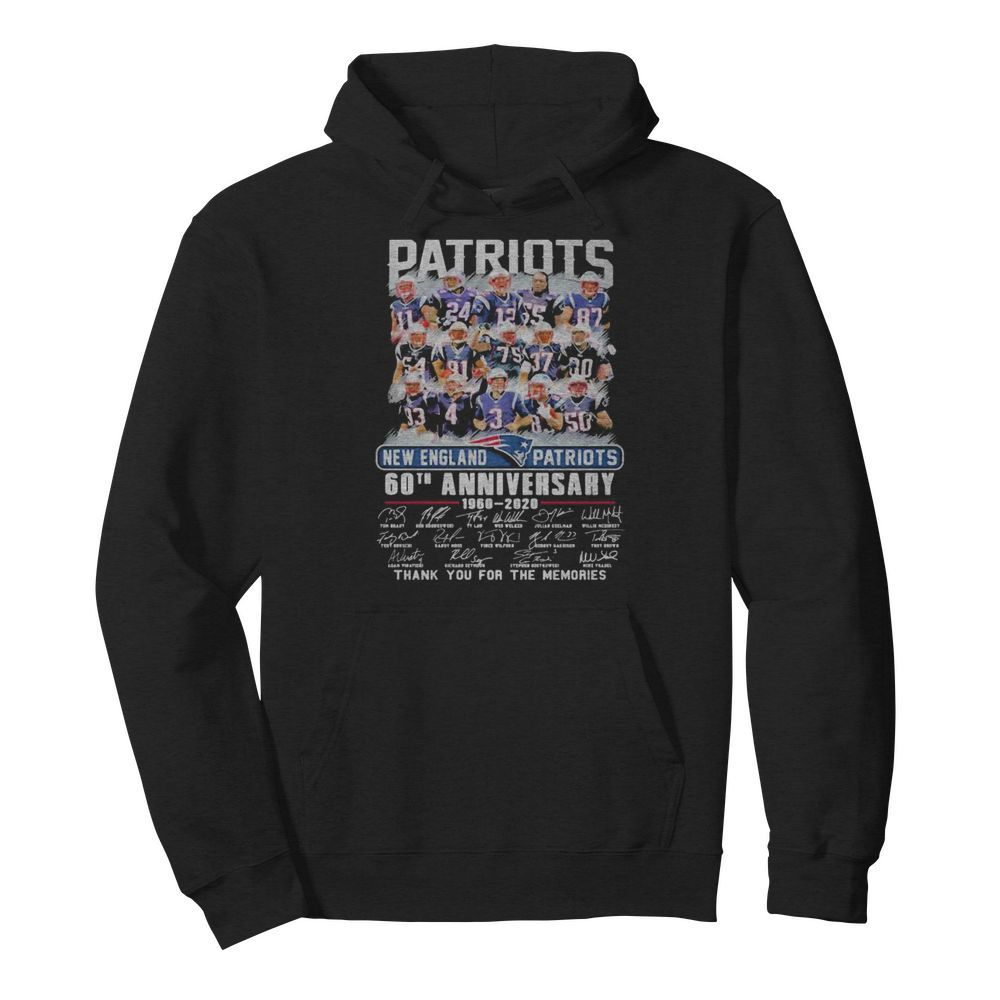 New england patriots 60th anniversary 1960 2020 thank for the memories signatures  Unisex Hoodie