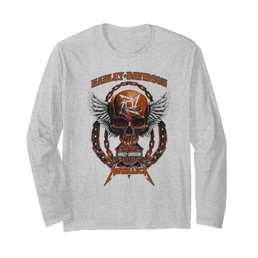 Skull Harley Davidson Motorcycles Metallica  Long Sleeved T-shirt