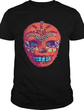 Skull Portrait Cool Mexican Orange Day Of The Dead shirt
