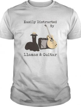 Easily Distracted By Wine Llamas And Guitar shirt