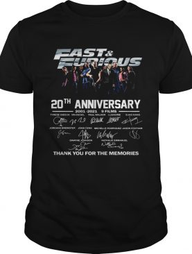 Fast And Furious 20th Anniversary 2001 2012 9 Films Thank You For The Memories Signature shirt