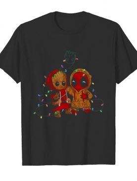 Baby Groot And Baby Deadpool Merry Christmas Light shirt