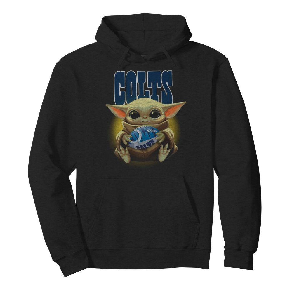 Baby Yoda Hug Rugby Indianapolis Colts  Unisex Hoodie