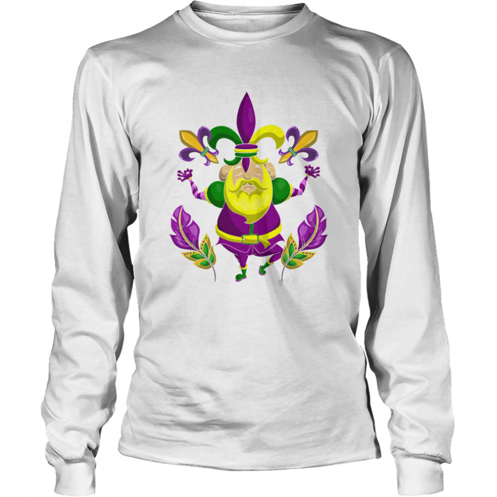 Carnival Clown Costume Party New Orleans Mardi Gras  Long Sleeved T-shirt