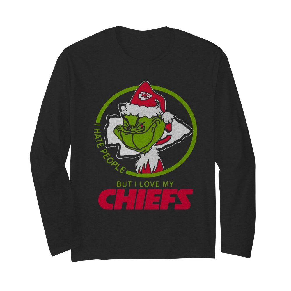 Grinch Santa I Hate People But I Love My Kansas City Chiefs Christmas  Long Sleeved T-shirt