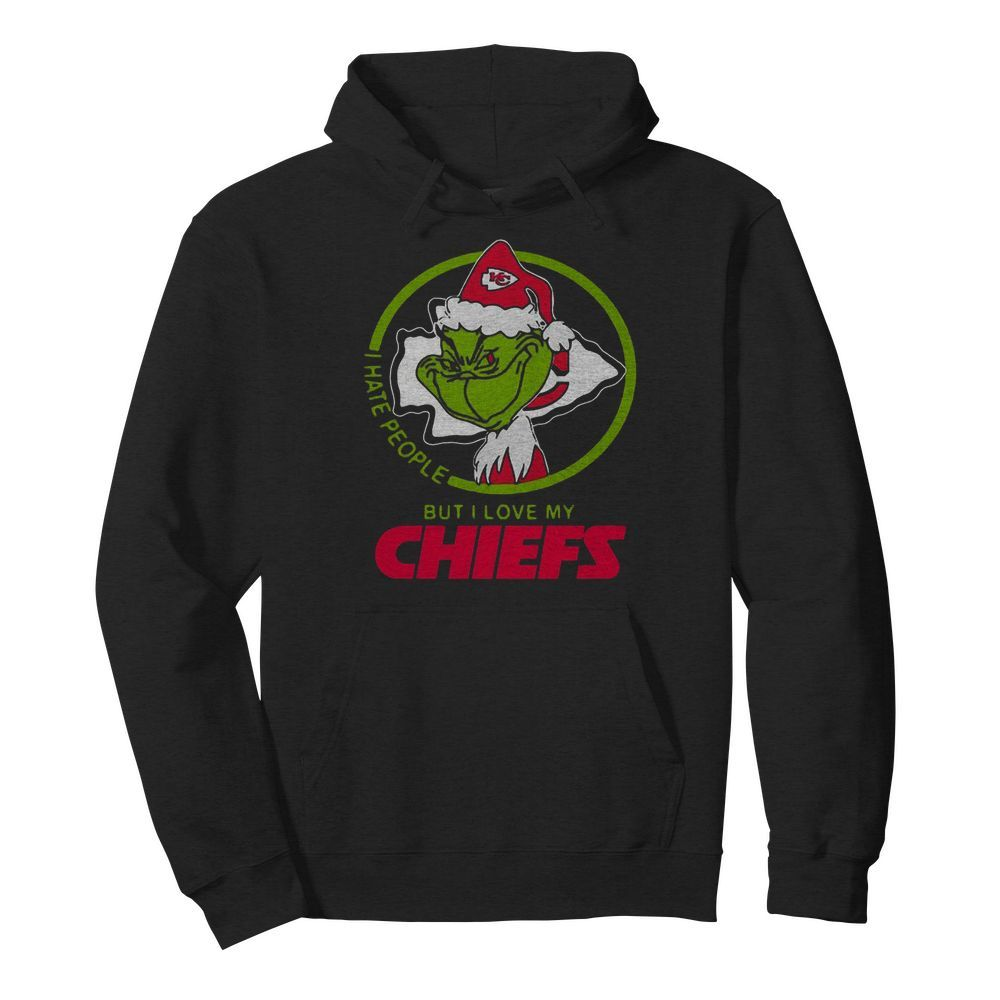 Grinch Santa I Hate People But I Love My Kansas City Chiefs Christmas  Unisex Hoodie