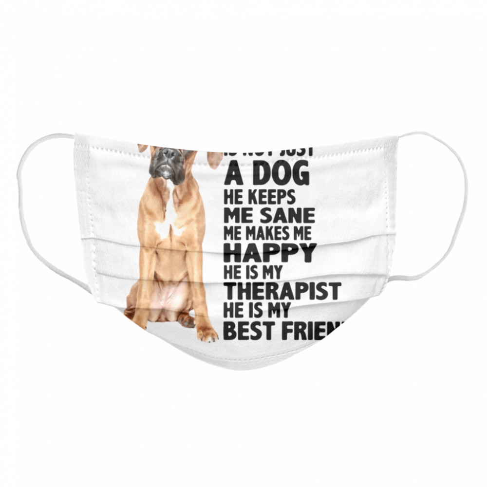 My Boxer Is Not Just A Dog He Keeps Me Sane Me Makes Me Happy He Is My Therapist Best Friend  Cloth Face Mask