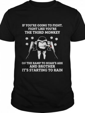 if youre going to fight fight like youre the third monkey on the ramp to noahs ark and brother its starting to rain shirt