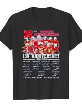 official the nebraska cornhuskers 130th anniversary 1890 2020 signature thank you for the memories shirt