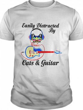 Easily Distracted By Music Cats And Guitar shirt